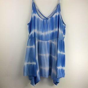Staccato light blue tie dye spaghetti strap tank-L